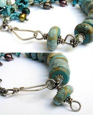 With an art bead and some wire you can create a custom clasp that is adjustable. Great idea, and LOVE the art beads in this pic.