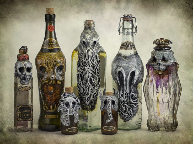 Creepy Bottles by FraterOrion H.P. Lovecraft poison potions alchemist elder gods cosplay costume LARP LRP equipment gear magic item | Create your own roleplaying game material w/ RPG Bard: www.rpgbard.com | Writing inspiration for Dungeons and Dragons DND D&D Pathfinder PFRPG Warhammer 40k Star Wars Shadowrun Call of Cthulhu Lord of the Rings LoTR + d20 fantasy science fiction scifi horror design | Not Trusty Sword art: click artwork for source