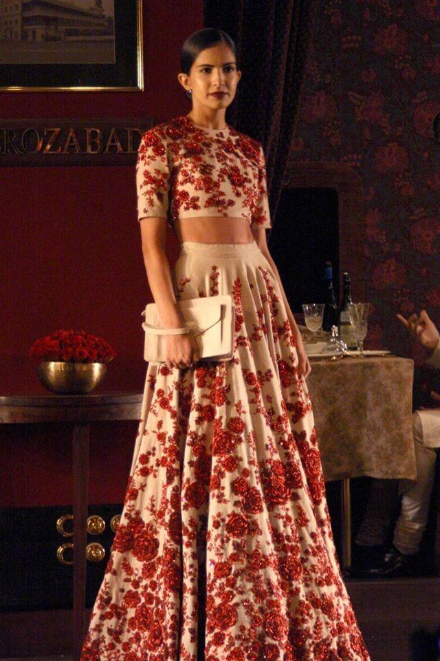 Sabyasachi Mukherjee - Indian Couture Week - Red and White Lehenga - Indian Vintage - Indian Couture #thecrimsonbride