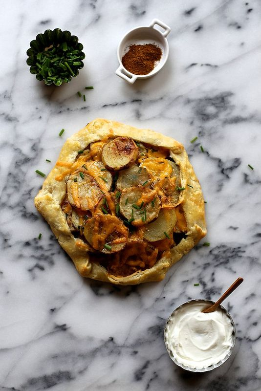 Roasted Potato Galette with cheddar and chives
