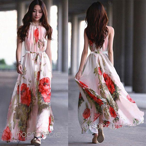 Féminine's style bohème bottines.- longueur en mousseline de soie longue robe sans manches dame imprimés folwer été, plage, we1307 robe plissée