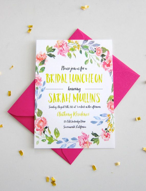20 Bridal Luncheon Invitations Watercolor by ShopPaperGarden