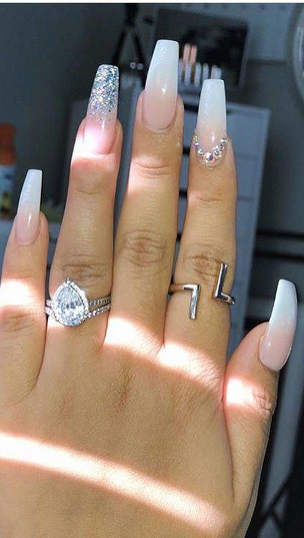 Acrylic Nail Art Ring Finger Sparkle Longacrylicnails Acrylic Nail Shapes Summer Acrylic Nails Coffin Nails Designs