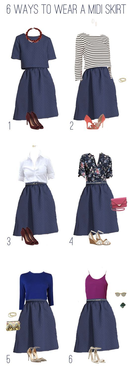 EmilyStyle: What to Wear: 1 Navy Midi Skirt, 6 Outfits: