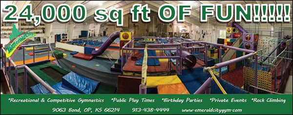 Emerald City Gymnastics offers over 2000 square feet for your child to play and explore during their open gym or summer classes! Call 913-438-4444 to book a class or learn more about open gym sessions :)  // For more family resources visit www.ifamilykc.com :)
