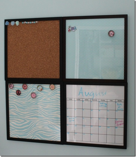 Possibly do this with four 12x12 frames for the kitchen command center.  A corkboard, calendar with glass over top to re-create each month, two glass covered scrapbook paper with metal underneath