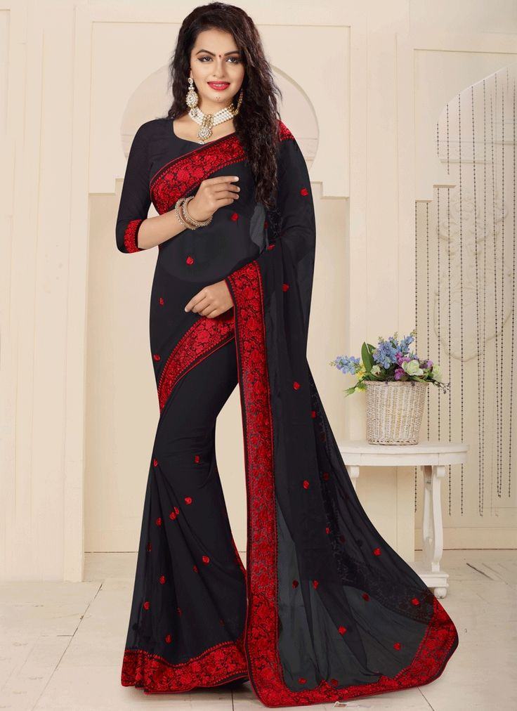 Online shopping store for women clothing like designer sarees. Shop this demure faux georgette black classic designer saree.