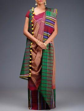 Red-Multicolor Cotton Gamcha Saree