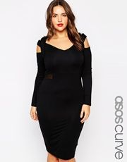 ASOS Curve | ASOS CURVE Bodycon Dress With Mesh inserts at ASOS