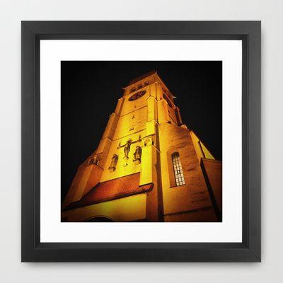 Church at Night Framed Art Print by AngelEowyn - $34.00
