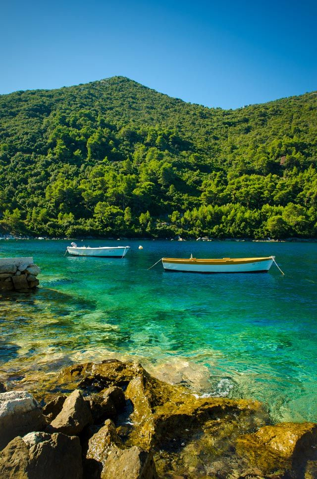 Mljet, Croatia. Most beautiful island on the Earth. necklace of salt lakes. Thick green pine woods and sunny beaches. May see dolphins.