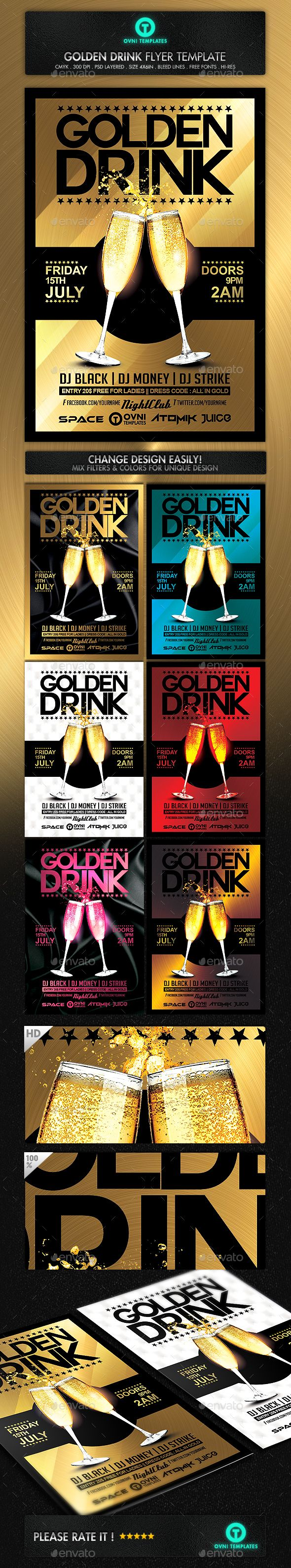Gold Drink Champagne Flyer Template — Photoshop PSD #clean #fresh • Download here → https://graphicriver.net/item/gold-drink-champagne-flyer-template/14448198?ref=pxcr