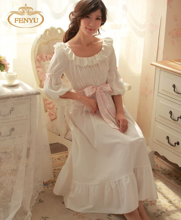 Free Shipping 100% Cotton Princess Nightdress Royal Pijamas Long White Nightgown Women's Sleepwear Ladies pijamas femininos