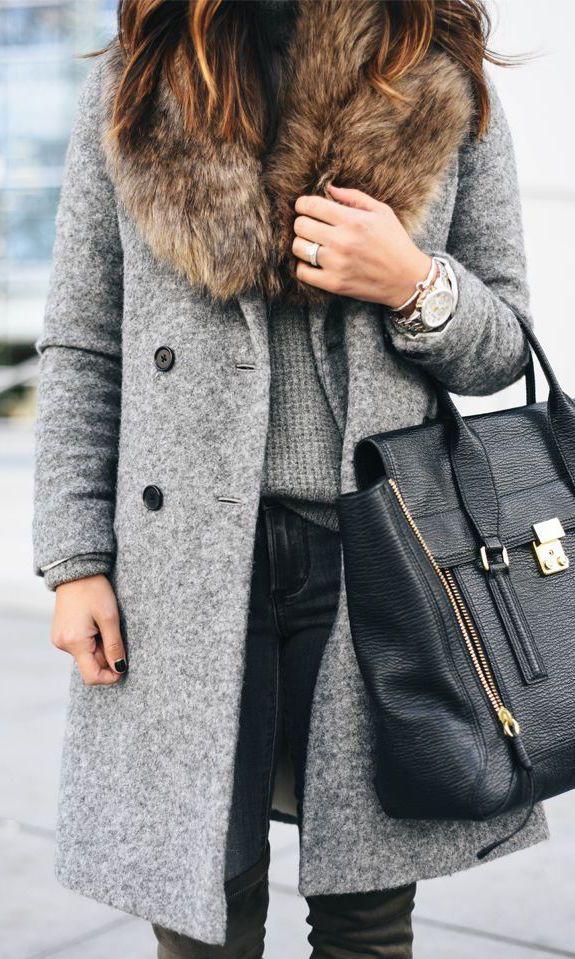 #winter #fashion / faux fur shearling coat