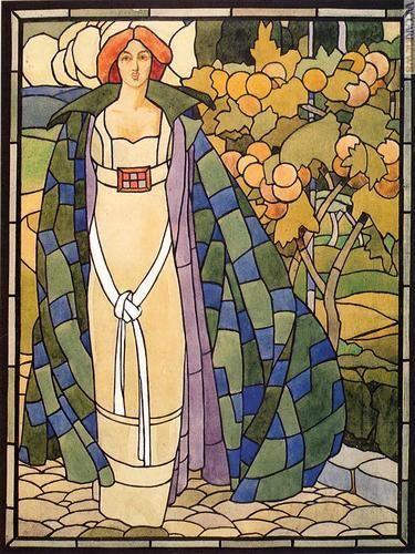 """Bozzetto per vetrata, risalente al 1911 ed ora in una collezione privata (entrambe le immagini: """"Paolo Paschetto 1885-1963"""")"""