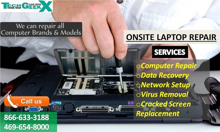 Having computer problems? Your local computer technician is here to help! Contact me today: 866-633-3188, 469-654-8000 • Virus/Spyware/Malware Removal • Computer Tune Up • Hardware/Software Installation • Data Transfer, Backup & Recovery • Laptop Screen Repair • and more . . . https://www.techgeekxonsite.com/computer-laptop-mac/