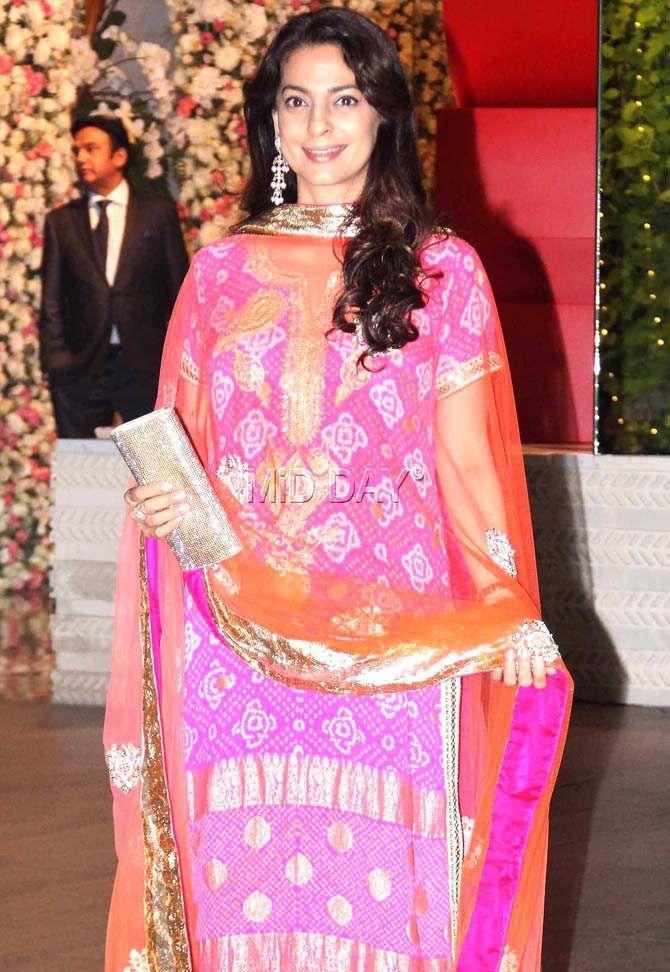 Juhi Chawla at Mukesh Ambani's bash at his residence Antilia in Mumbai. #Bollywood #Fashion #Style #Beauty #Hot #Ethnic