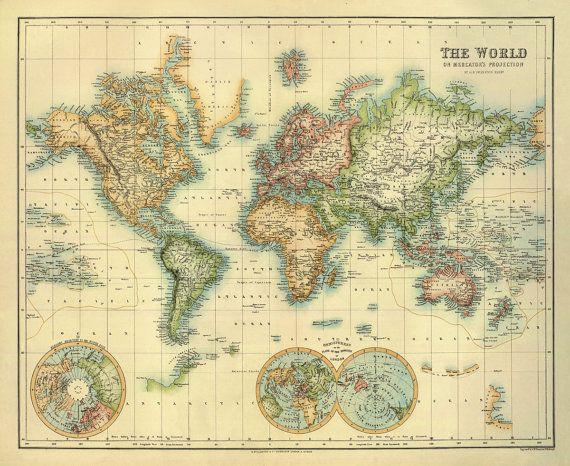 Mappemonde  carte ancienne restaurée  30 x 245 par AncientShades, $46.00