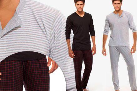 Eyelit Pijama de invierno de hombre rayado o liso con pantalón cuadrillé, en Eyelit.
