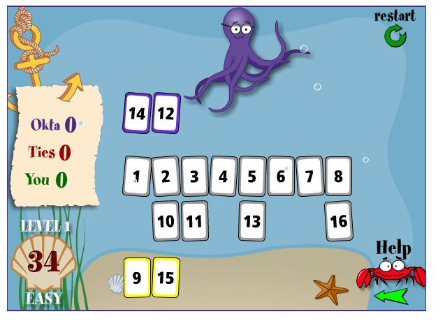 Deep Sea Duel: Okta challenges you to a duel! That crazy octopus wants to play you in a game where the first person to choose cards with a specified sum wins. You can choose how many cards, what types of numbers, and Okta's level of strategy.
