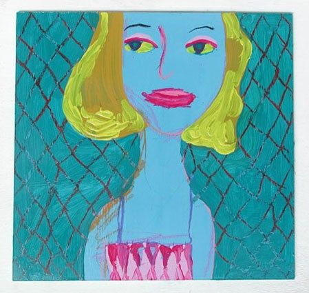Original Acrylic Painting, Art For Kids And The Young At Heart, Bright Blue Blonde Mermaid Sitting In A Net And Wearing A Pink Bikini Top