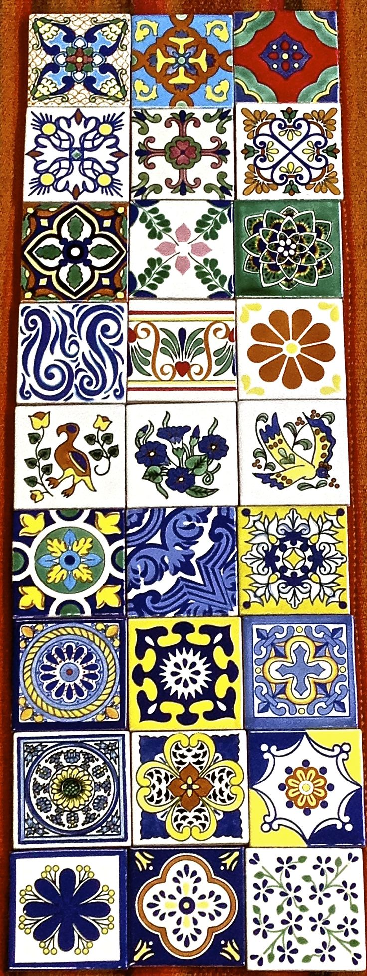 Here's a sampling of Especial (ceramic) Mexican tile, hand-painted and high temperature fired clay for durability and water resistance. Most colors and patterns also available in porcelain.