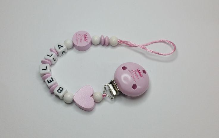 Schnullerkette piccola principessa rosa Herz md459 von myduttel auf DaWanda.com
