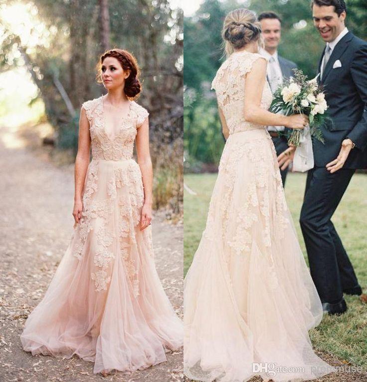 Wholesale Newest Wedding Dresses - Buy 2014 Vintage Lace Wedding Dresses Champagne Ruffles Bridal Gown Cap Sleeve Deep V Neck Layered Reem Acra Lace Bridal Gowns EM01767, $131.73   DHgate