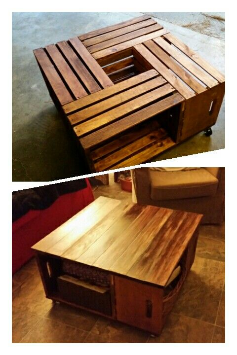 Crate coffee table before and after upgrade.