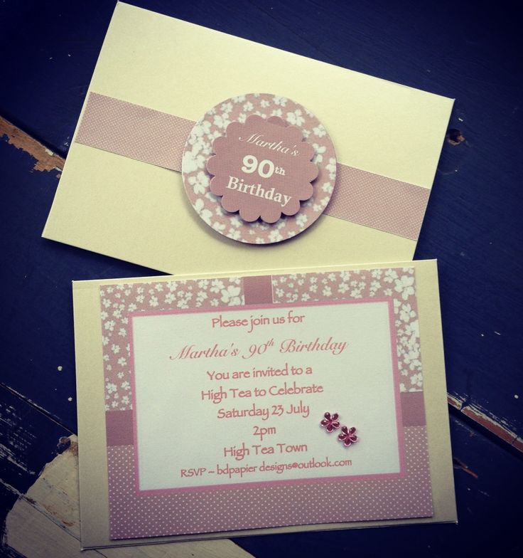 Handmade 90th Birthday Invitation