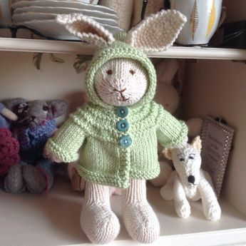 Hand Knitted Rabbit by Theoldknittingbag on Etsy