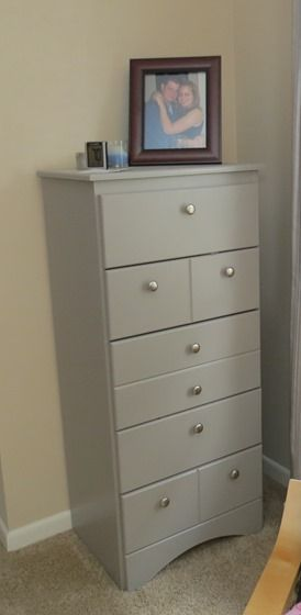 "Laminate Dresser Update :: Painted a worn laminate dresser in ""fashion grey"" to test out a furniture color :: Love it!"