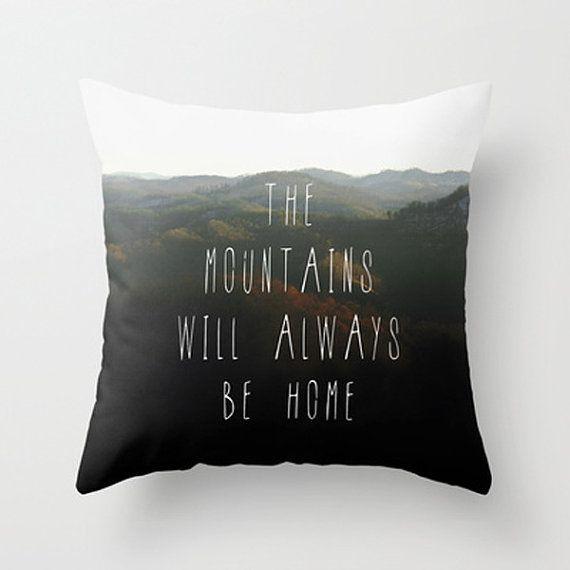 Mountain Home Quote Pillow Cover, Mountains Photo Pillow Case, Boho Home Decor, Appalachian Photography, Green and Black Toss Pillow Cover