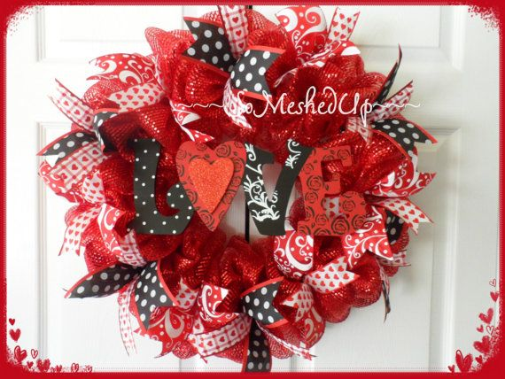 Red Deco Mesh Valentine's Day wreath with Love sign by SoMeshedUp, $49.00