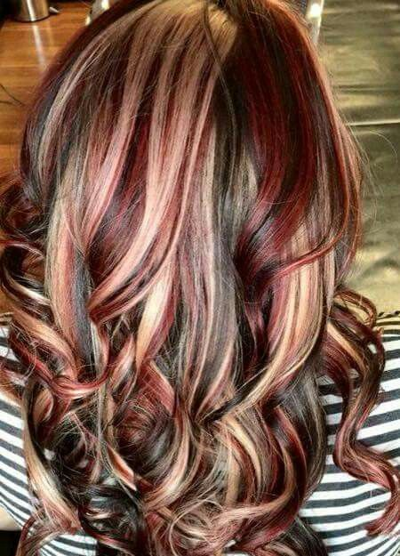 Brown Hair Color With Red And Blonde Highlights - Hairs ...