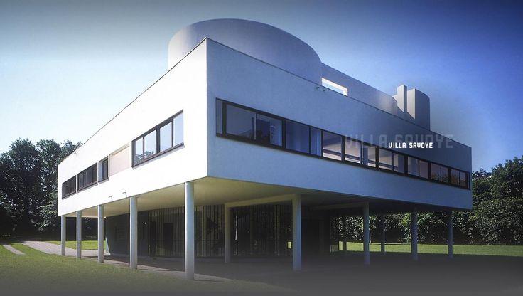 Villa savoye :  Le corbusier La villa Savoye est une villa construite de 1928 à 1931 par l'architecte Le Corbusier, sur la commune française de Poissy, dans les Yvelines  Toit jardin, piloti, fenetre bandeau, façade libre.