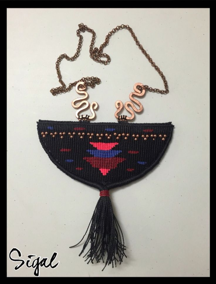 Micro macrame tribal necklace hand made