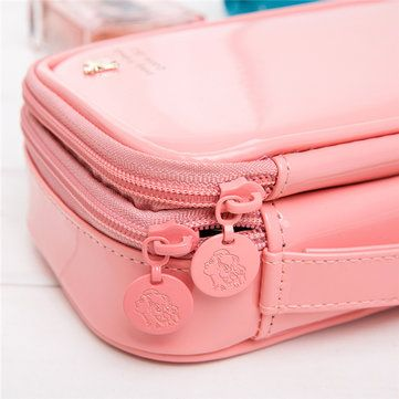 Candy Color PU Leather Cosmetic Storage Bag Travel Bag Wash Bags - US$14.96