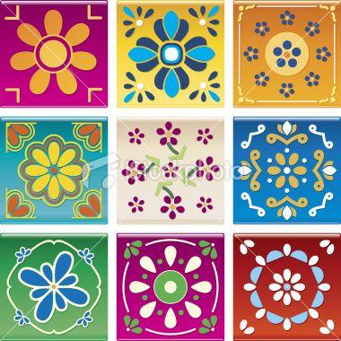 Modern Mexican Tile Royalty Free Stock Vector Art Illustration