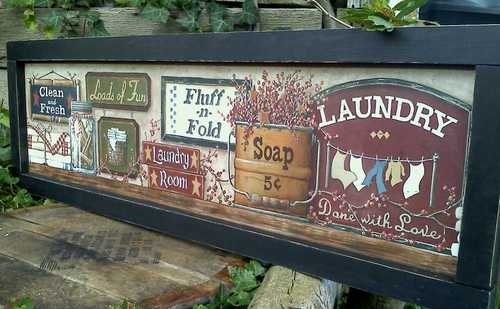 Laundry room primitive sign rustic home shabby chic antique vintage country