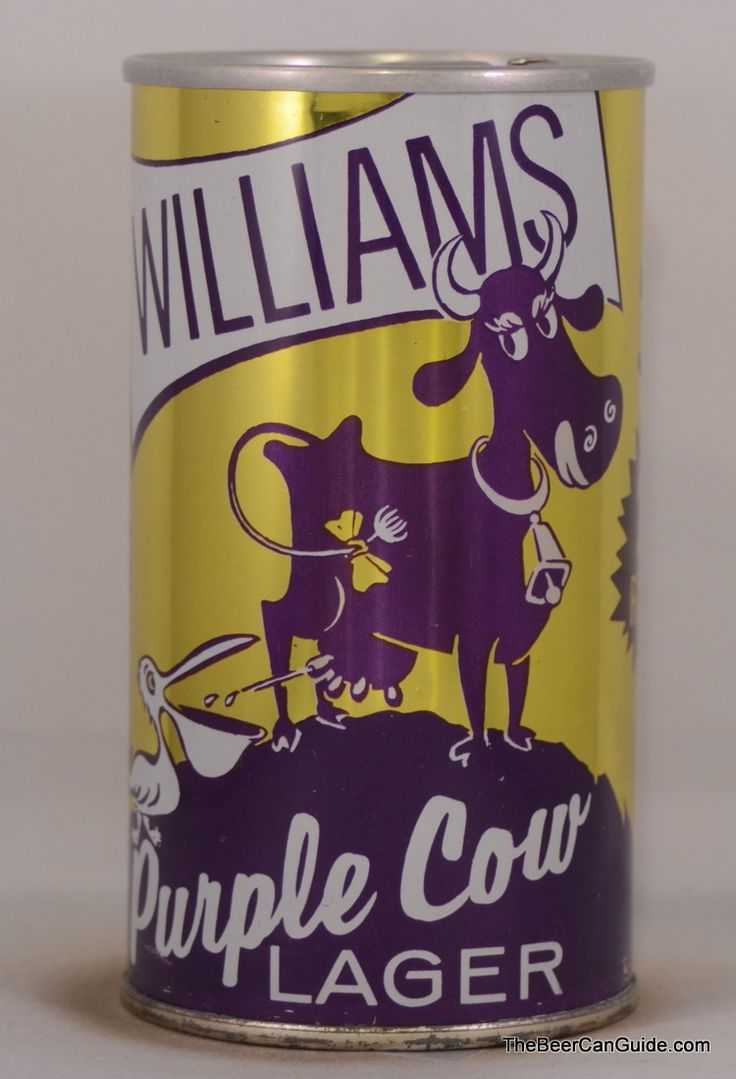 Williams Purple Cow Lager Beer Can, 12 oz. Self Opening - Zip Top,