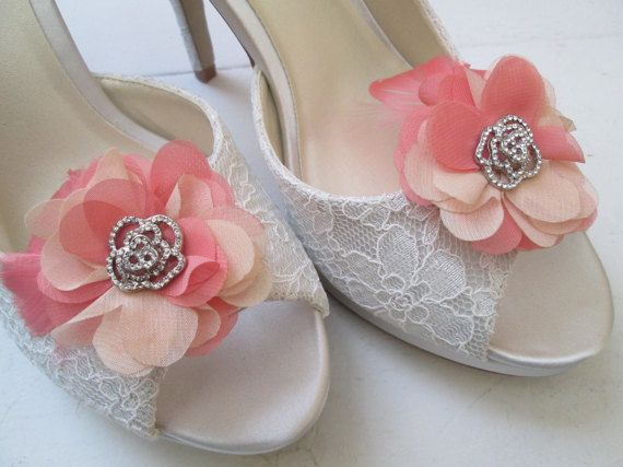 Blush & Peach Wedding Shoe Clips Rose Water by GibsonGirlGarters