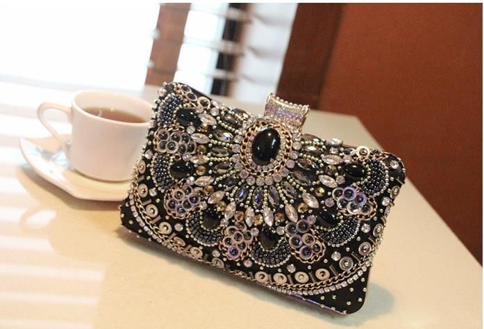 Stunning Luxury Black Evening Clutch Bags 2016 Latest Manual Beading Diamonds Crystal Party Bags With Chain Wedding Bridal Bags Lady Purse Online with $58.3/Piece on Sunny728's Store | DHgate.com