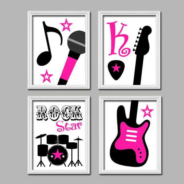 Cute Black Wall Decor : Cute custom name initial pink black rock star microphone