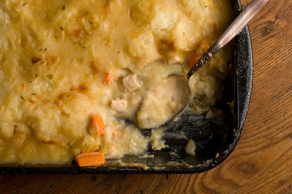 Turkey Shepherd's Pie Recipe - CHOW. Maybe this for a two-person thanksgiving?