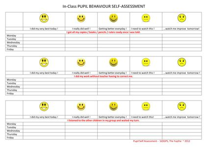 Self Assessment Templates Student Self Assessment Form For Reading