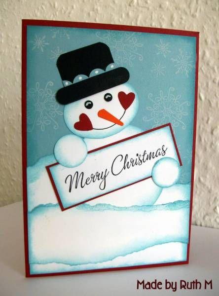 Punch Art Snowman Merry Christmas Card