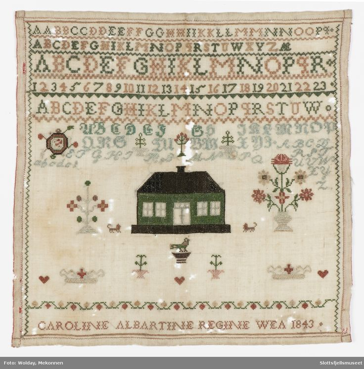 Korsstingsbroderi. Init: Caroline Albertine. Alfabetet, tall og dekorasjoner.