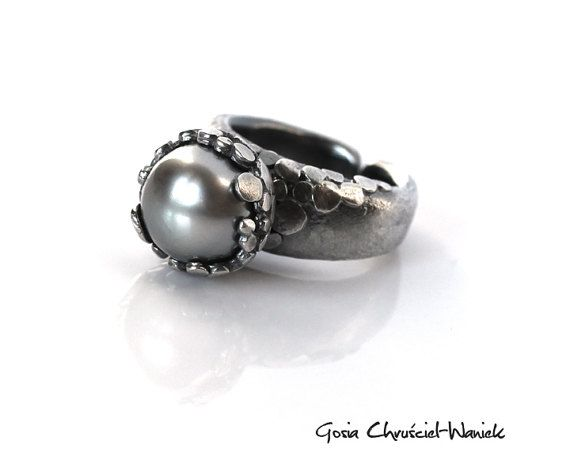 Extraordinary magnificent silver pearl ring by GosiaWaniek on Etsy