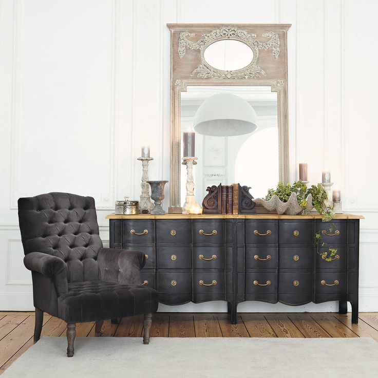 fauteuil de salon capitonn velours gris anthracite. Black Bedroom Furniture Sets. Home Design Ideas